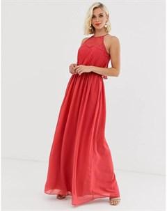 Красное платье макси с халтером Chi chi london