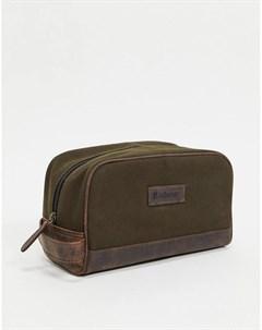 Кожаный несессер с короткой ручкой оливково коричневого цвета Barbour