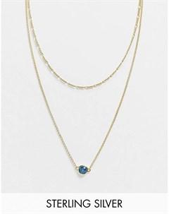 Позолоченное ожерелье из стерлингового серебра с синим камнем Serge denimes