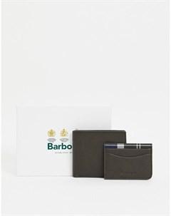 Оливковый кожаный бумажник и кредитница Barbour