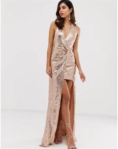 Платье макси с разрезом и пайетками City goddess