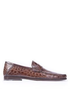 Лоферы из кожи крокодила Santoni