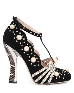 Замшевые туфли с декором Gucci