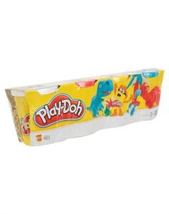 Набор для лепки из пластилина 4 банки белый красный желтый голубой белый Play-doh