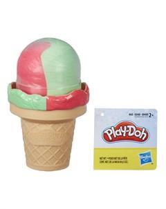Набор для лепки из пластилина Мороженое розово зеленое Play-doh