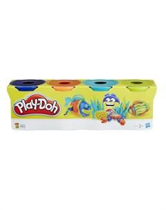 Набор для лепки из пластилина 4 банки синий оранжевый зеленый желтый синий Play-doh