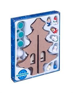 Набор для рисования Новогодняя ёлочка раскраска с игрушками Bondibon