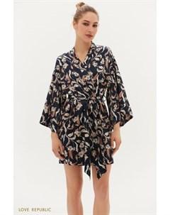 Атласный халат кимоно с принтом Love republic