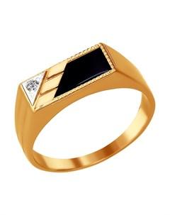 Кольцо из золота с родированием с ониксом и фианитом Sokolov