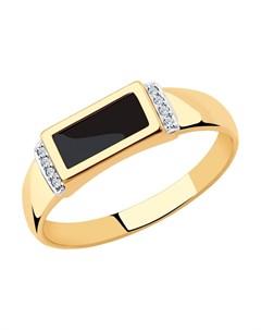 Кольцо из золота с родированием с наношпинелью и фианитами Sokolov