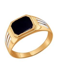 Кольцо из золота с родированием с ониксом Sokolov