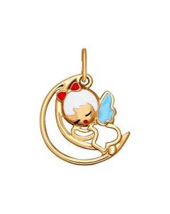 Подвеска ангел из золота с эмалью Sokolov