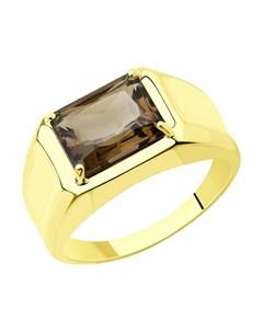 Кольцо из желтого золота с раухтопазом Sokolov