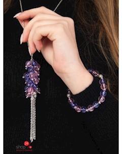 Ожерелье и браслет цвет серебристый розовый синий Klingel