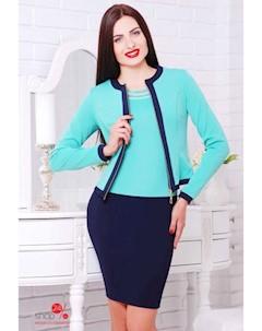 Комплект платье жакет цвет темно синий мятный Boston
