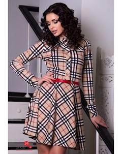 Платье цвет бежевый черный Charm