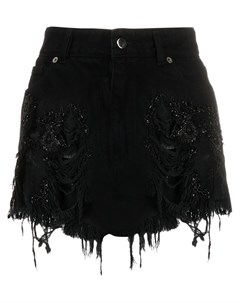 Джинсовая юбка с декором из бисера Almaz