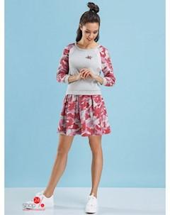 Костюм джемпер юбка цвет белый розовый Devita