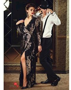 Платье цвет черный золотой Люше