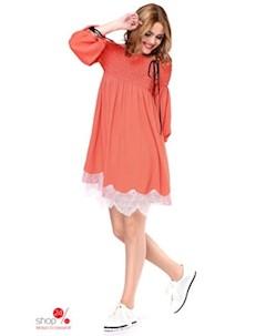 Платье цвет коралловый белый Kiara