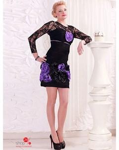 Платье цвет черный фиолетовый Lejole