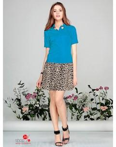 Платье цвет голубой бежевый черный Kiara