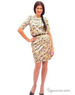 Платье с ремнем цвет желтый бежевый коричневый Ladystyle