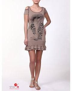 Платье цвет бежевый чёрный Lila rose