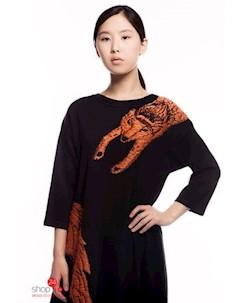 Платье цвет черный оранжевый Brusnika