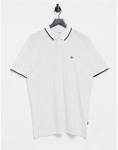 Белое поло со сплошным принтом и логотипом Denim Tom tailor