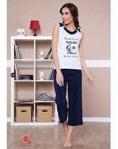 Пижама цвет белый темно синий Moyra