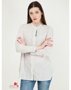 Рубашка цвет белый синий Mango