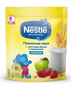 Молочная пшеничная каша с кусочками яблока и земляникой 220гр Nestle