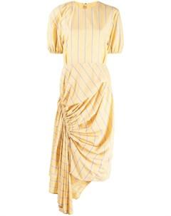 Платье в полоску с асимметричным подолом Push button