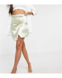 Светло бежевая мини юбка с завышенной талией из блестящего атласа с перекрученным дизайном ASOS DESI Asos tall