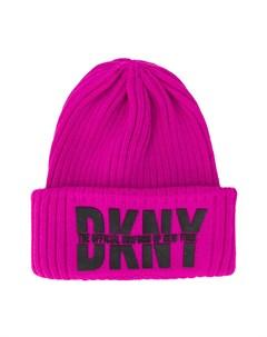 Шапка бини в рубчик с логотипом Dkny kids