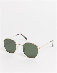 Круглые солнцезащитные очки в золотистой металлической оправе Topman