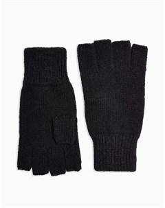 Черные перчатки без пальцев Topman