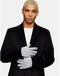 Светло серые перчатки для сенсорных экранов Topman
