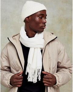 Светло бежевый тканый шарф Topman