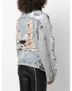 Джинсовая куртка с эффектом потертости Almaz