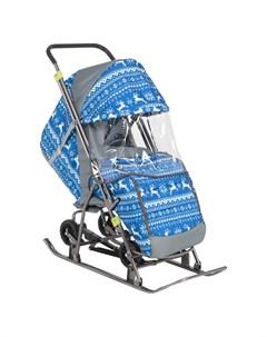 Санки коляска Снежинка Универсал 1 Зимняя ночь Galaxy
