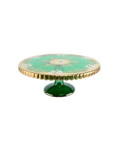 Тортница 32 см лепка зеленая Bohemia