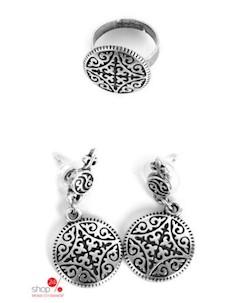 Комплект серьги кольцо цвет серебряный Skifska etnika