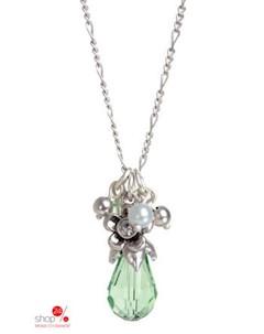 Колье цвет серебряный зеленый Arts & crafts