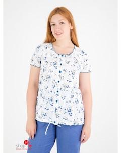 Блуза цвет белый синий Domene
