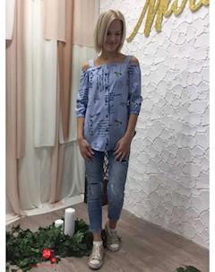 Блуза цвет голубой Marafett