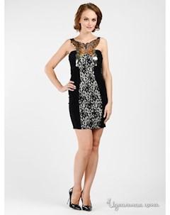 Платье цвет черный белый бабочка Progress