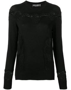 Приталенный пуловер с кружевными вставками Dolce&gabbana