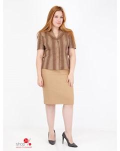 Костюм жакет юбка цвет коричневый бежевый Szefler